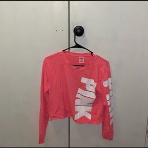 Long sleeve cropped Victoria Secret pink shirt